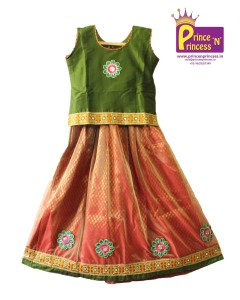 kids girls traditional ethnic pattu pavadai langa voli lehenga