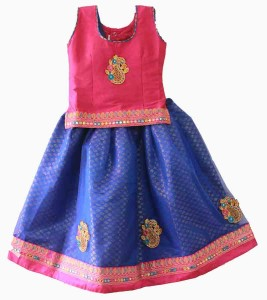 kids girls traditional ethnic pattu pavadai langa voni lehenga